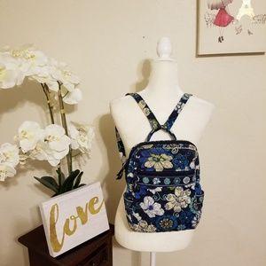 Vera Bradley Floral Medium Size Backpack Blue